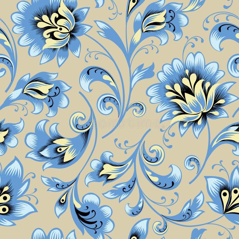Configuration sans joint florale Fond de remous de fleur Rétro style de brocard ornemental illustration de vecteur