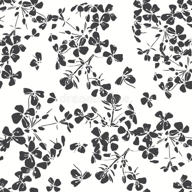 Configuration sans joint florale Illus noir et blanc tiré par la main illustration de vecteur