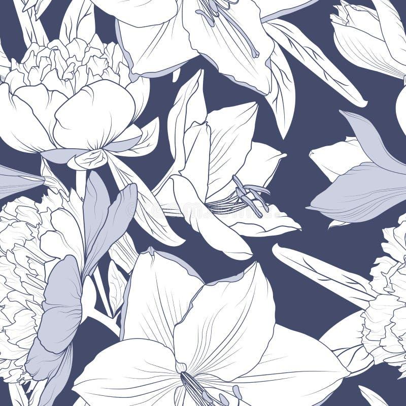 Configuration sans joint florale La pivoine de lis fleurit le dessin de croquis détaillé réaliste d'ensemble Fond violet bleu pro illustration stock