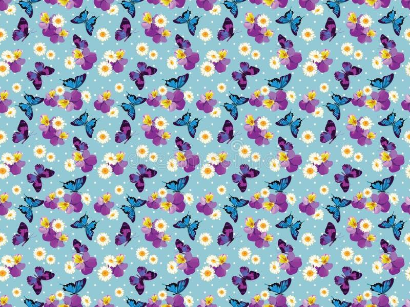 Configuration sans joint florale Pensées avec des camomilles sur le fond bleu de point de polka Illustration illustration stock