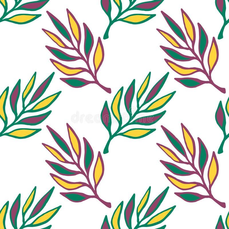Configuration sans joint florale Texture tirée par la main avec la feuille Le vert laisse le fond de vecteur sans couture illustration stock