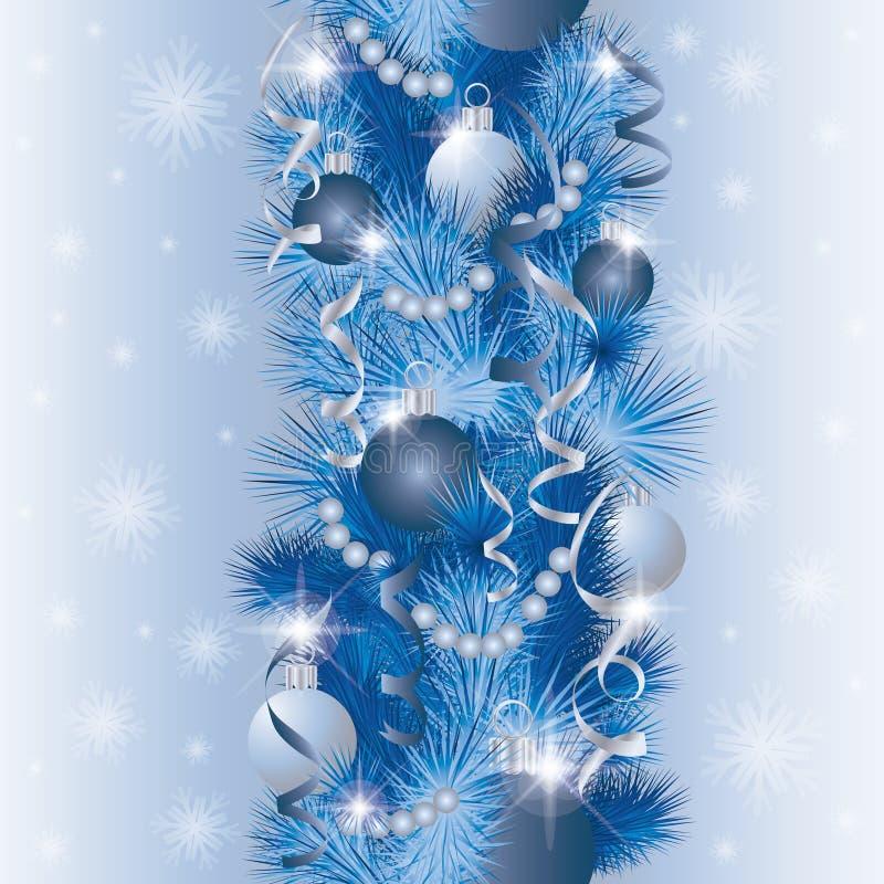 Configuration sans joint Fond d'hiver avec les boules argentées de Noël illustration de vecteur