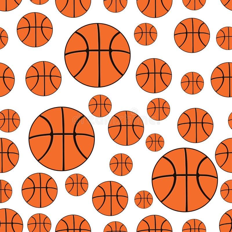Configuration sans joint Fond sans couture avec des boules de basket-ball illustration libre de droits