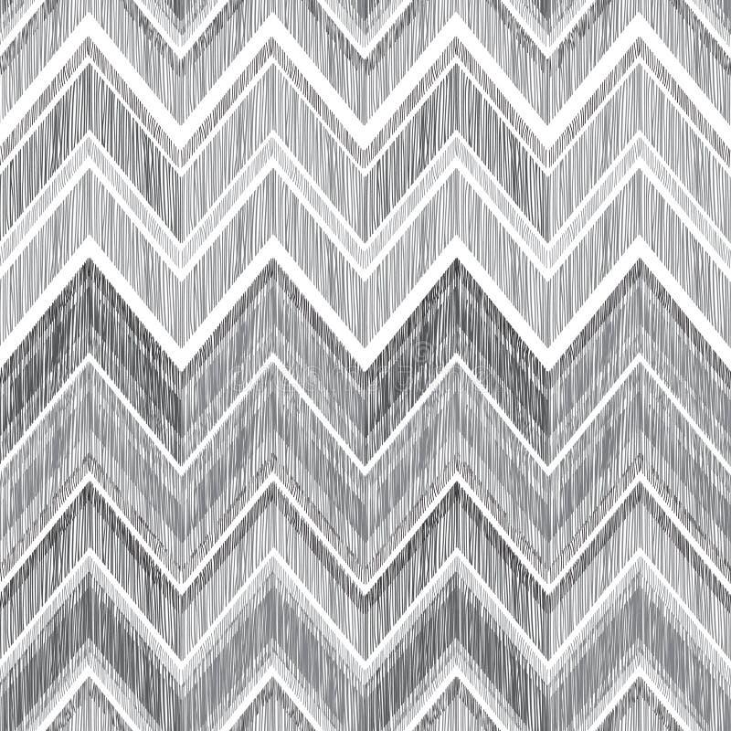 Configuration sans joint géométrique abstraite Lignes de zigzag de griffonnage de tissu illustration stock