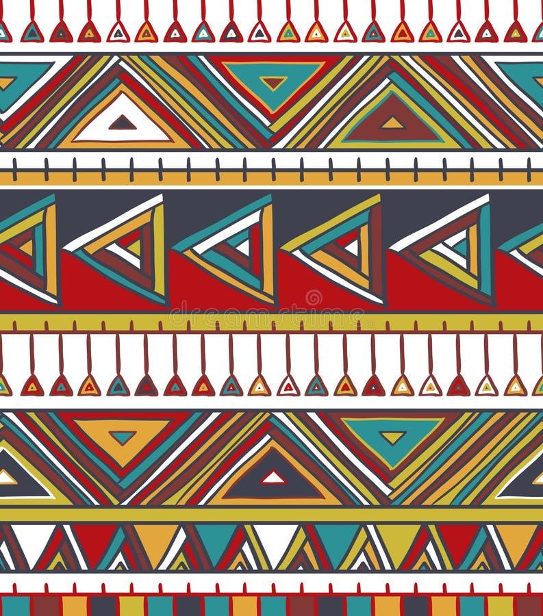 Configuration sans joint géométrique abstraite Modèle aztèque de style avec la triangle et la ligne illustration stock