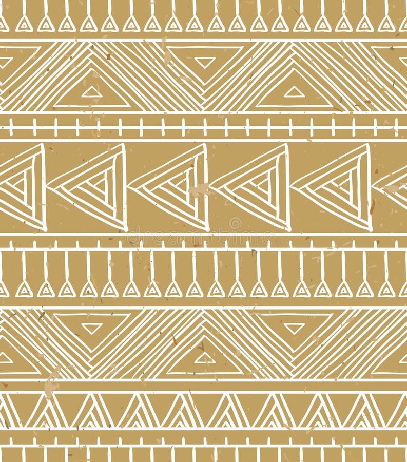Configuration sans joint géométrique abstraite Modèle aztèque de style avec la triangle et la ligne sur le fond de carton illustration stock