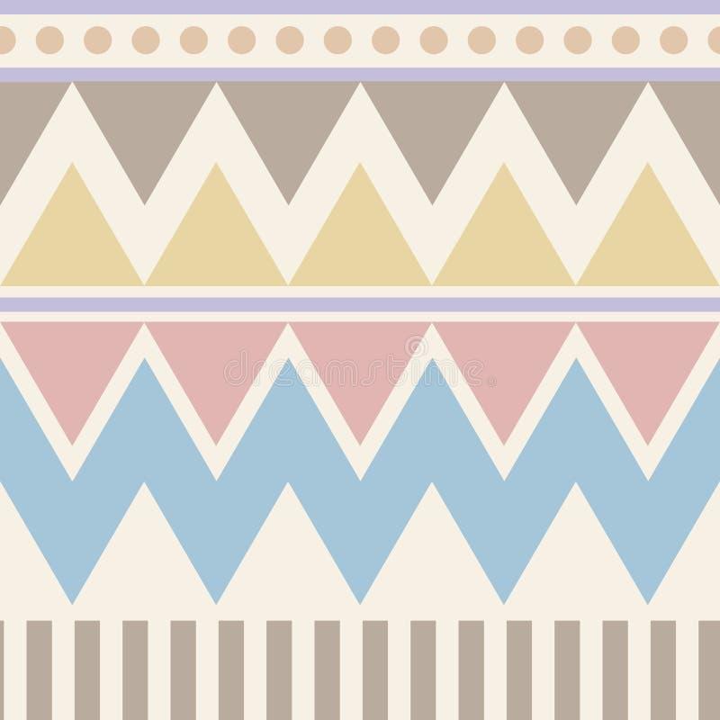 Configuration sans joint géométrique abstraite Style aztèque avec la triangle et la ligne modèle tribal de Navajo brun rose beige illustration stock