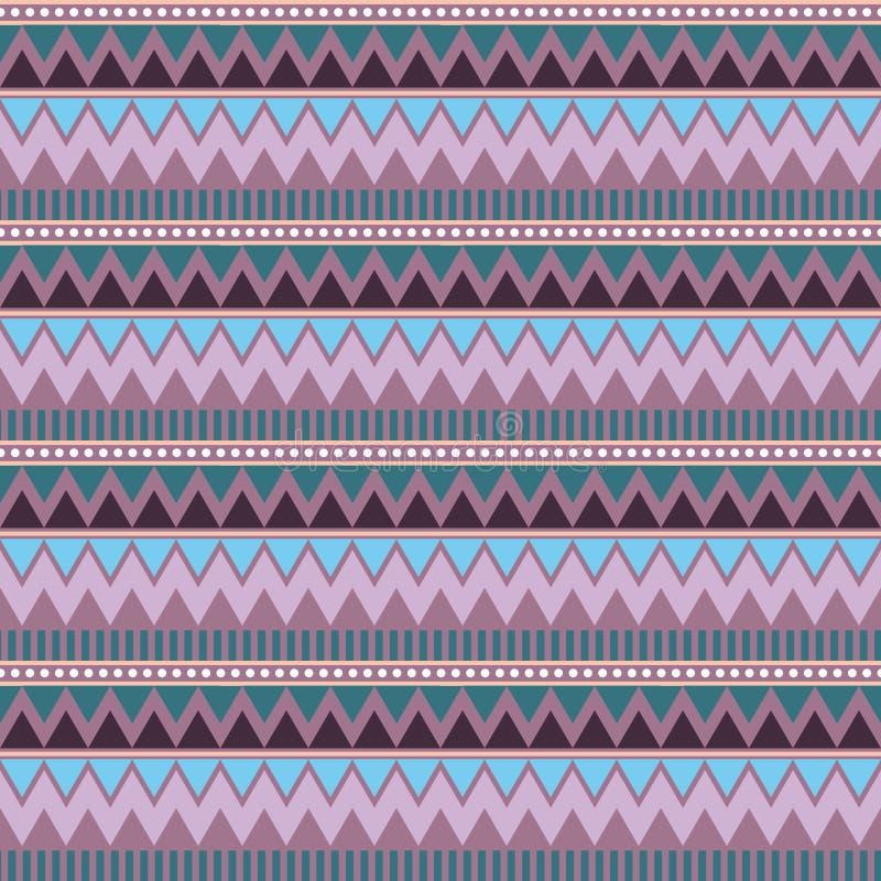 Configuration sans joint géométrique abstraite Style aztèque avec la triangle et la ligne modèle tribal de Navajo geome pourpre l illustration de vecteur
