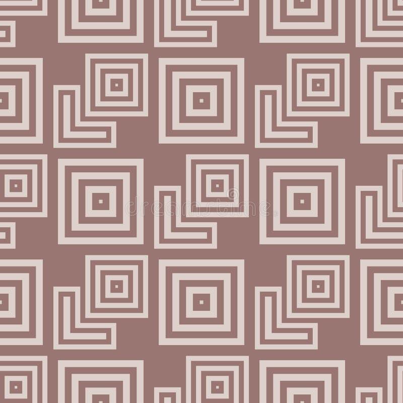 configuration sans joint géométrique Fond d'abrégé sur Brown avec les éléments carrés de forme illustration stock