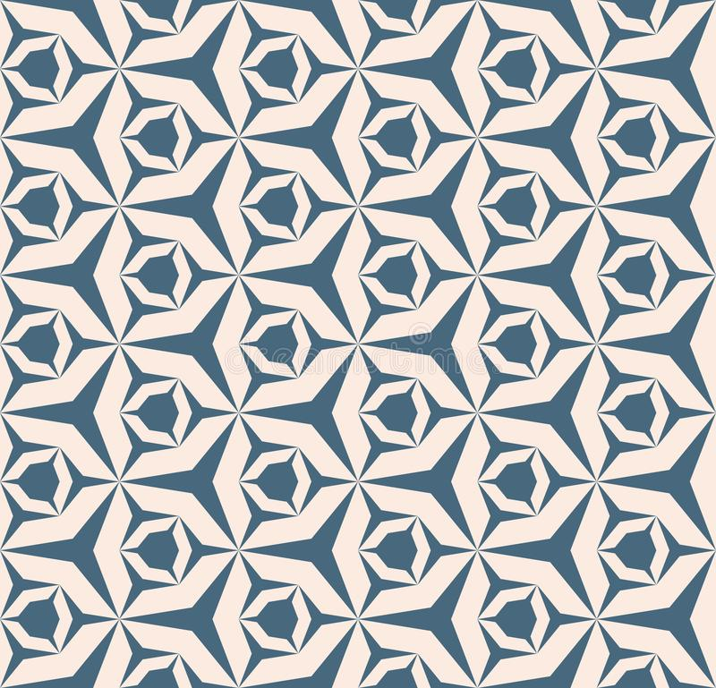 Configuration sans joint g?om?trique de vecteur Texture bleue et beige douce avec la grille, filet illustration libre de droits