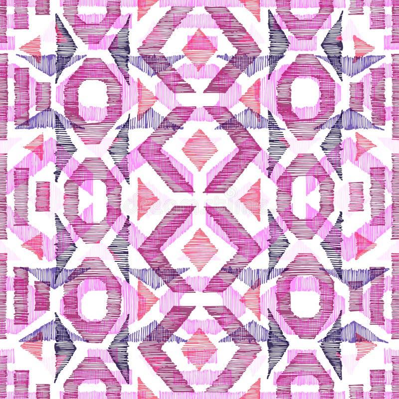 configuration sans joint g?om?trique Ornement dessiné par le stylo sur le papier Copie pour des textiles Illustration de vecteur illustration de vecteur