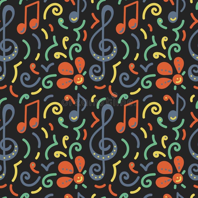 Configuration sans joint Gribouillez l'affiche, festival de concert de musique de carte Note musicale, clef triple, fleurs illustration libre de droits