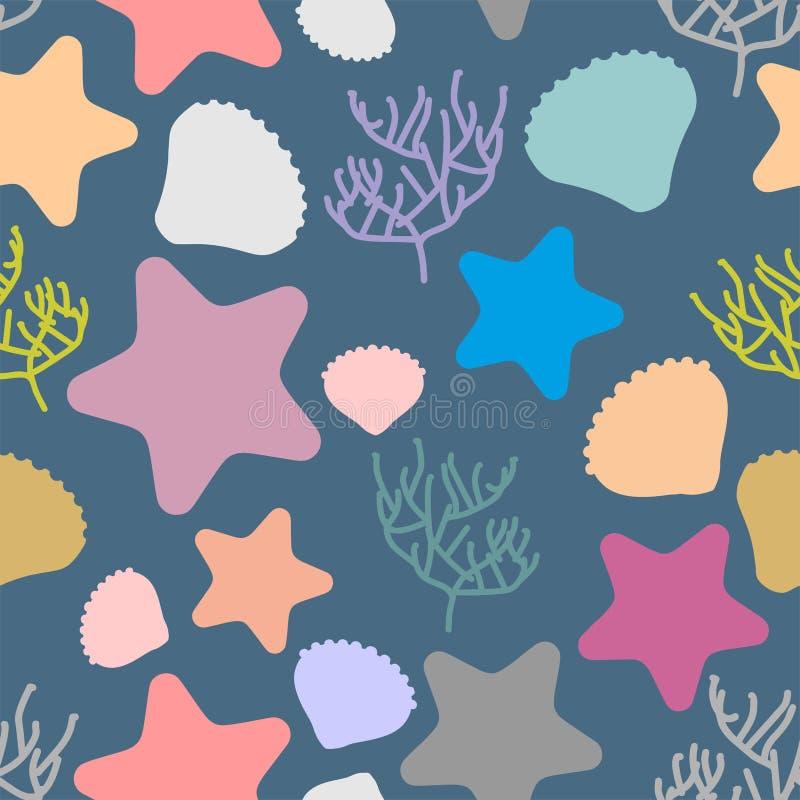Configuration sans joint marine Silhouettes colorées d'espèce marine Sca illustration libre de droits