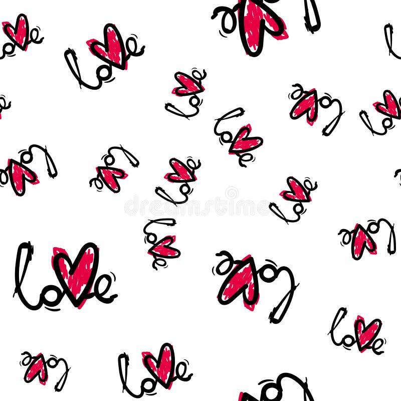 Configuration sans joint mignonne Fond romantique de couleur Illustration avec des lèvres Thème de jour de valentines illustration stock