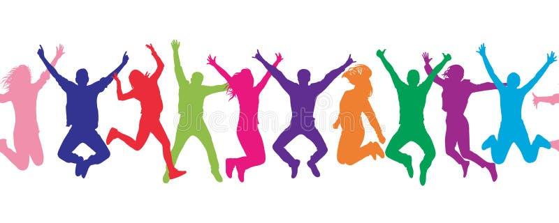 Configuration sans joint Personnes sautantes de foule gaie coloré illustration libre de droits