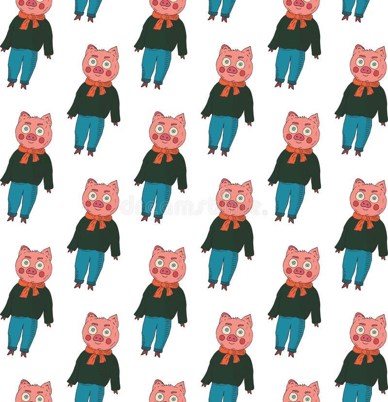 Configuration sans joint Porcs dans un chandail, des jeans et une écharpe sur un fond blanc illustration libre de droits