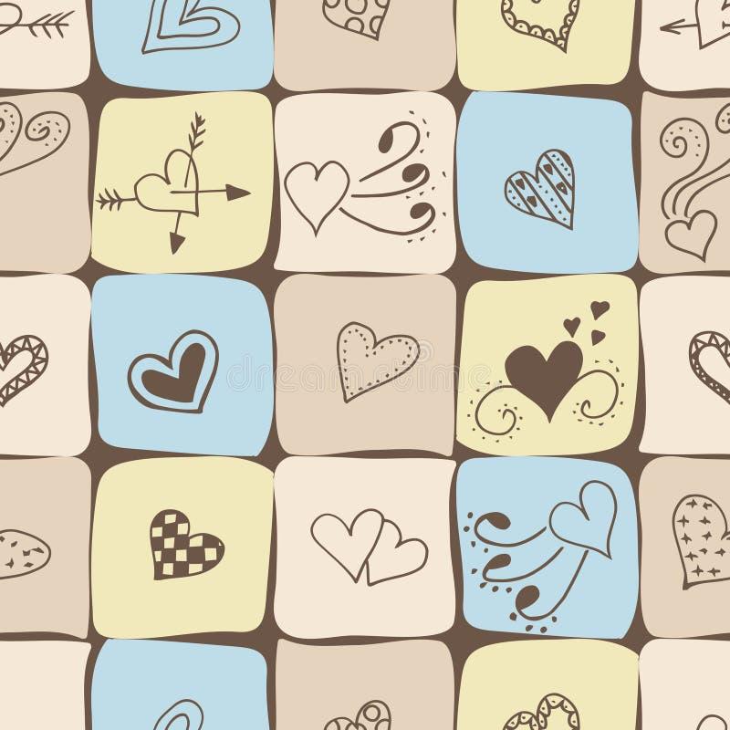 Configuration sans joint pour le jour de Valentines Tissu de toile avec coeurs illustration stock