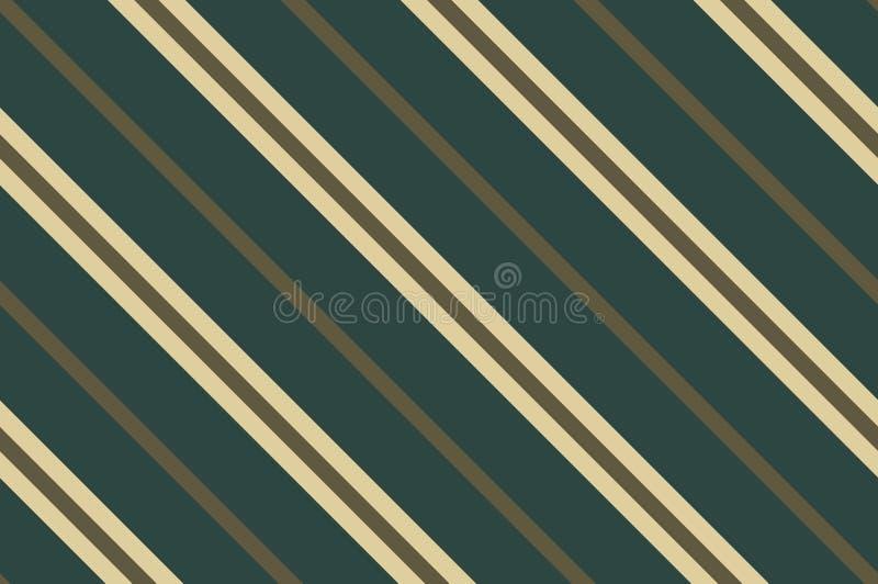 Configuration sans joint Rayures vert-foncé sur le fond beige Modèle diagonal rayé pour imprimer sur le tissu, papier illustration stock