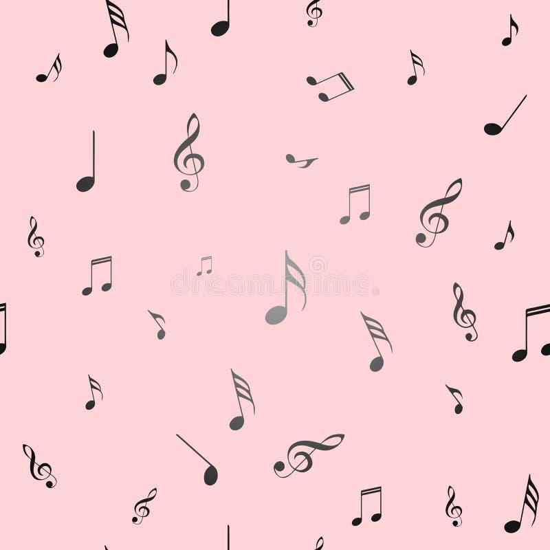 Configuration sans joint rose Notes de musique sur un fond rose Configuration sans joint rose Illustration de vecteur illustration stock