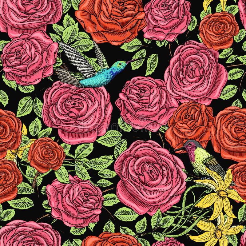 Configuration sans joint Roses avec des feuilles et des bourgeons Épouser les fleurs botaniques au jardin ou à l'usine de ressort illustration stock