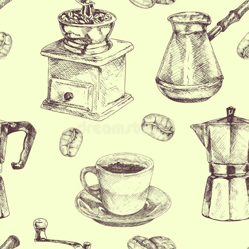 Configuration sans joint Tasse de café, grains de café, fabricant de café et broyeur de café Illustration tirée par la main dans  illustration stock