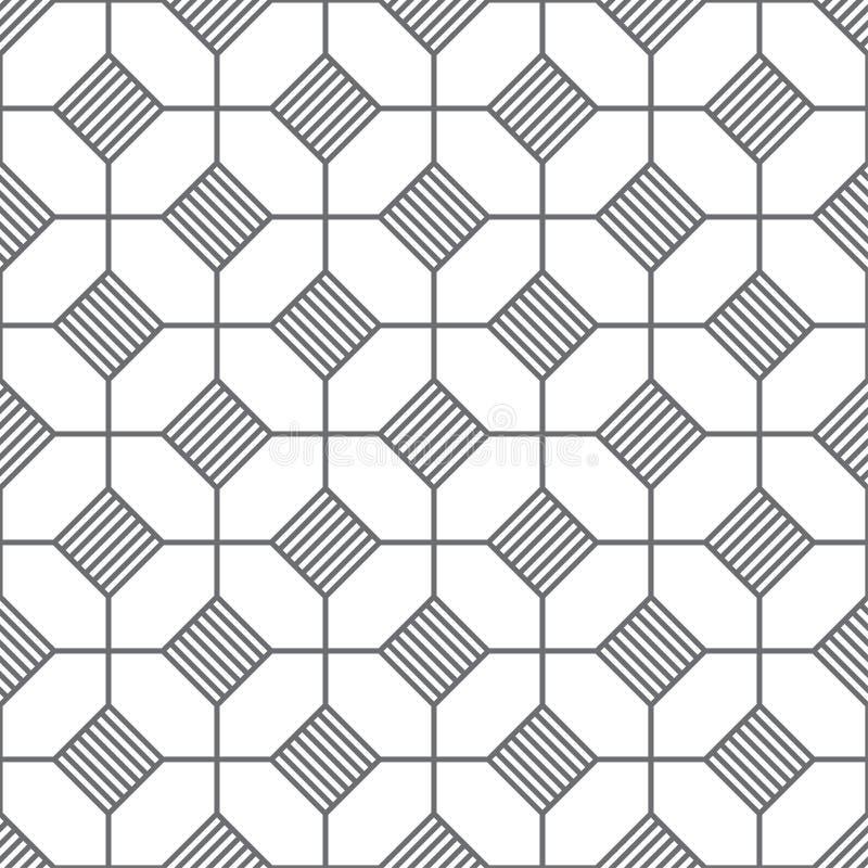 Configuration sans joint texture élégante moderne Régulièrement répétition des hexagones linéaires, losanges rayés, polygones Élé illustration de vecteur