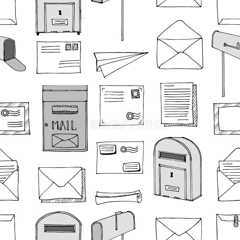 Configuration sans joint tirée par la main Courrier, courrier, lettre, enveloppe, avion de papier, ensemble de bande dessinée de  illustration libre de droits