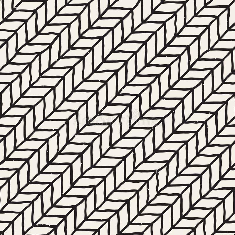 Configuration sans joint tirée par la main Fond géométrique abstrait de carrelage en noir et blanc Ligne élégante trellis de grif illustration de vecteur