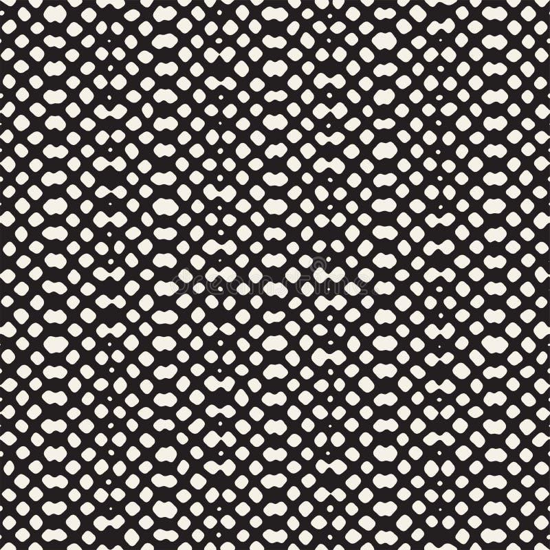 Configuration sans joint tirée par la main Fond géométrique abstrait de carrelage en noir et blanc Ligne élégante trellis de grif illustration stock