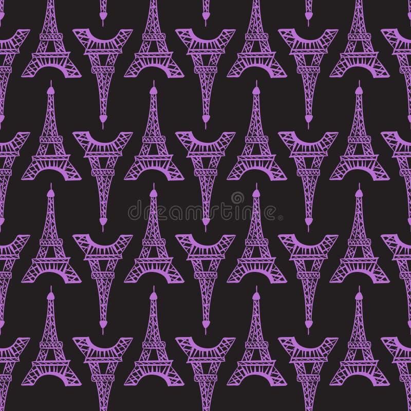 Configuration sans joint Tissu lumineux moderne d'impression de conception Tour Eiffel pourpre d'encre d'illustration Main abstra illustration stock