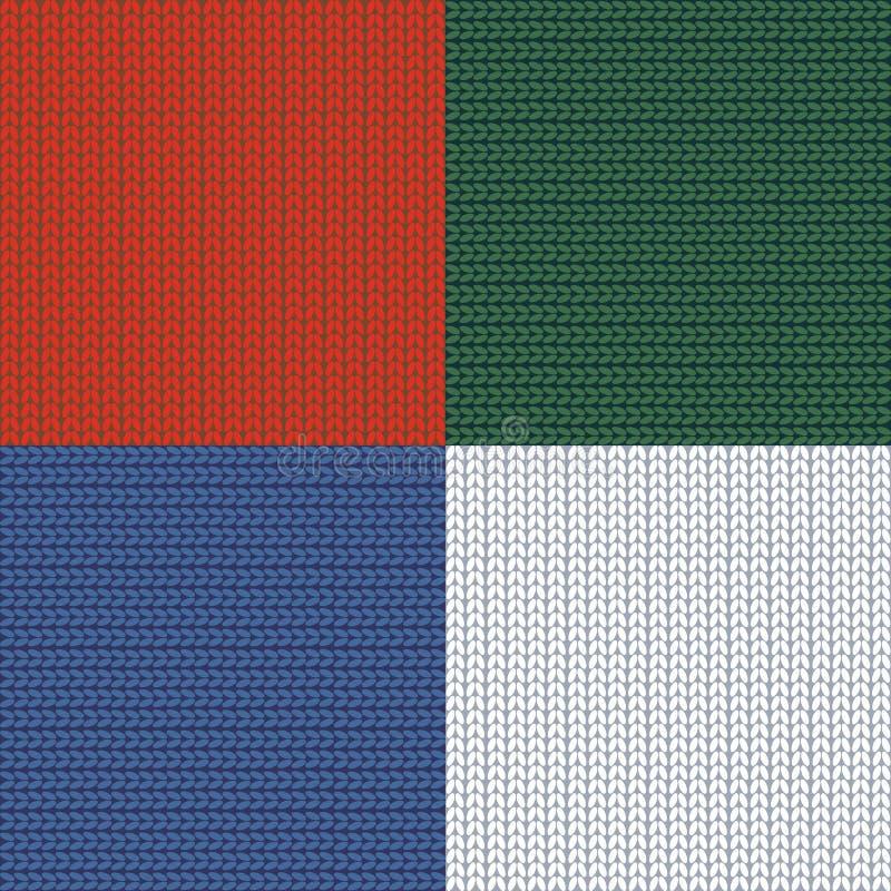 Configuration sans joint tricotage plaid rapiéçage filé Fond tricoté de laines Blanc rouge de vert bleu Vecteur illustration de vecteur