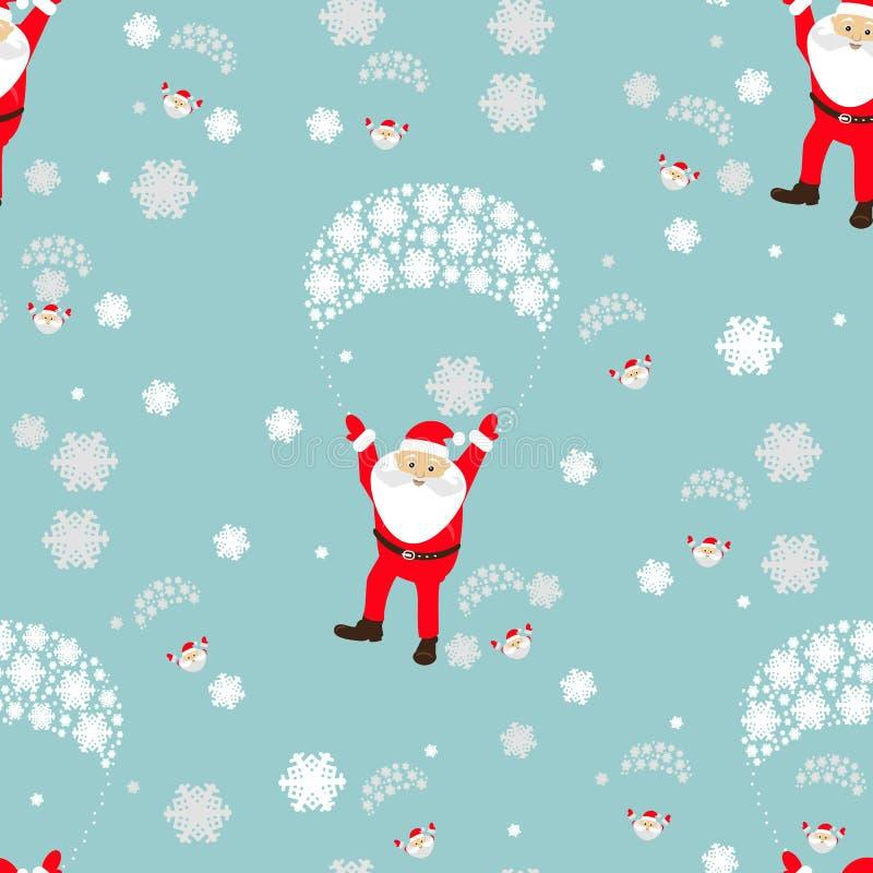 Configuration sans joint Vacances de Noël de la nouvelle année s beaucoup Santa Claus vole sur un parachute avec la fille de la d illustration libre de droits
