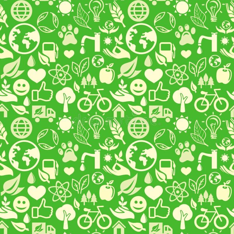Configuration sans joint verte avec des signes d'écologie illustration de vecteur