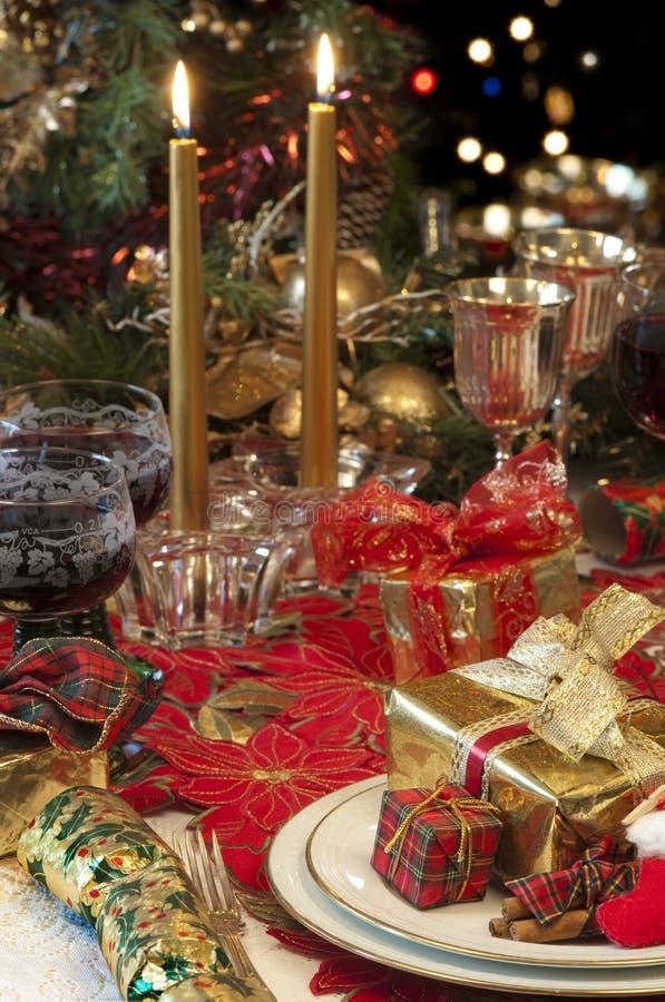 Configuration traditionnelle de table de Noël. photographie stock