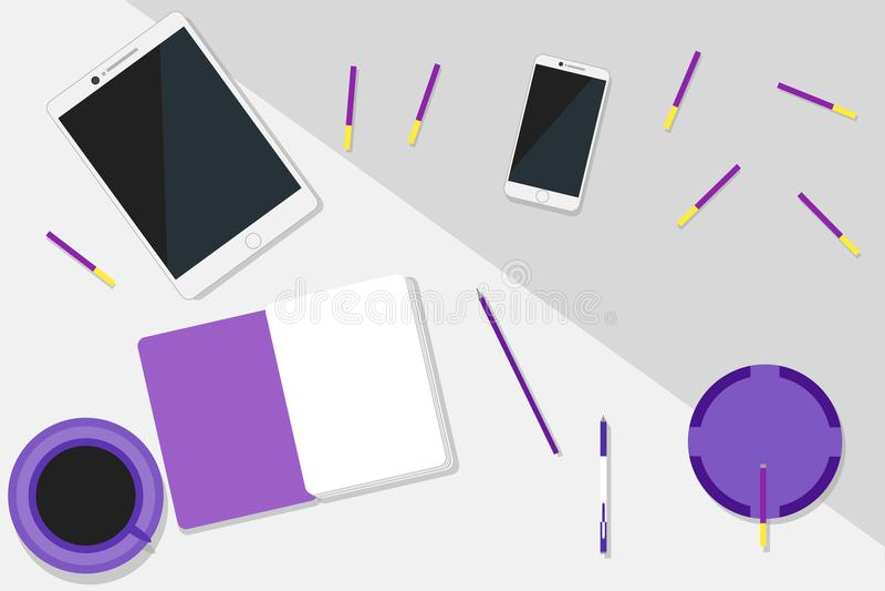 Configuration ultra-violette moderne d'appartement d'espace de travail photo stock