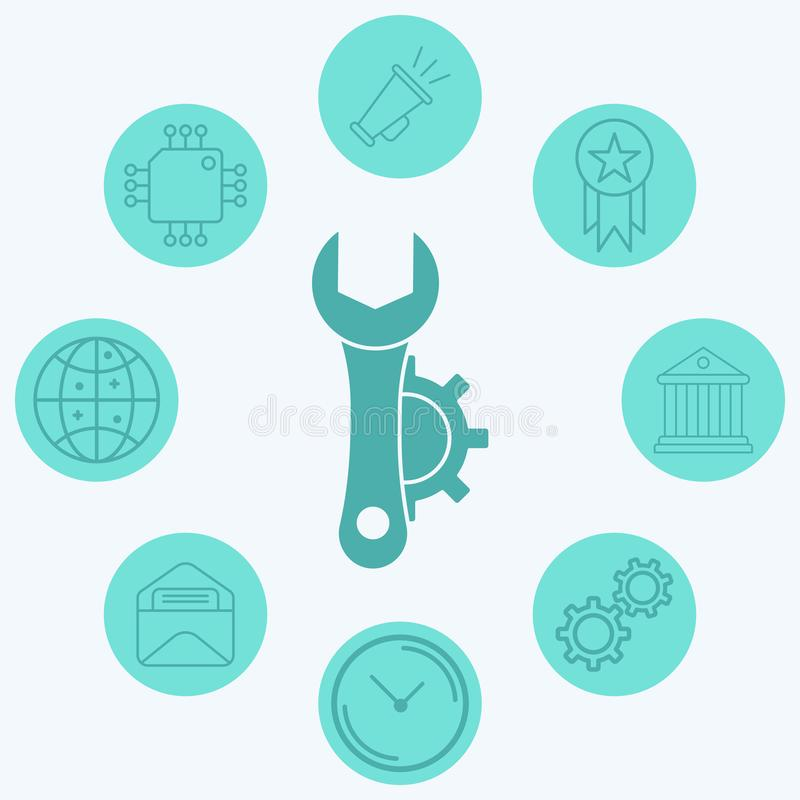 Configuration vector icon sign symbol. Icon vector, filled flat sign, solid pictogram isolated on white. Symbol, logo illustration royalty free illustration