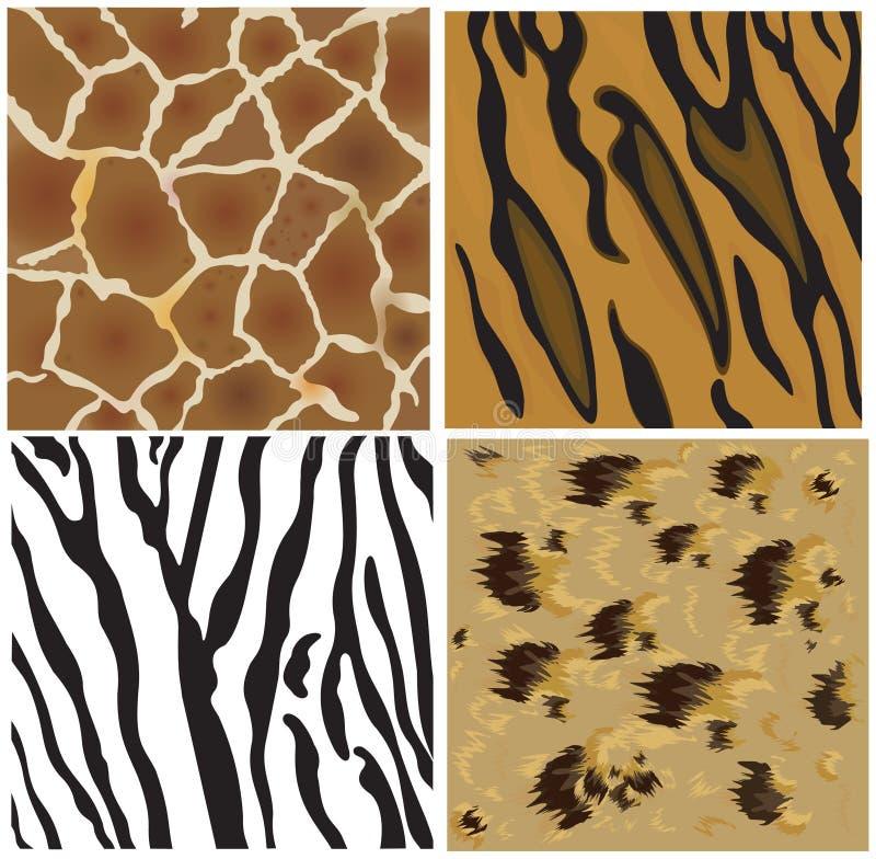 Configurations animales de tigre, de léopard, de giraffe et de zeb illustration libre de droits