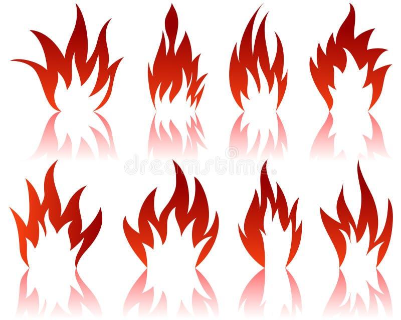 configurations d'incendie réglées illustration stock