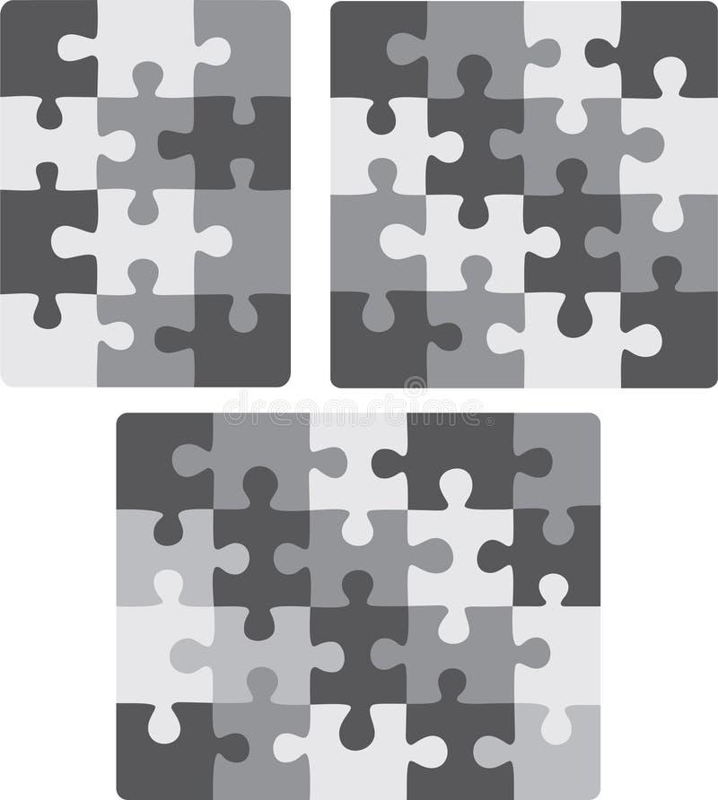 configurations du puzzle 3X4, 4X4 et 5X4 illustration stock