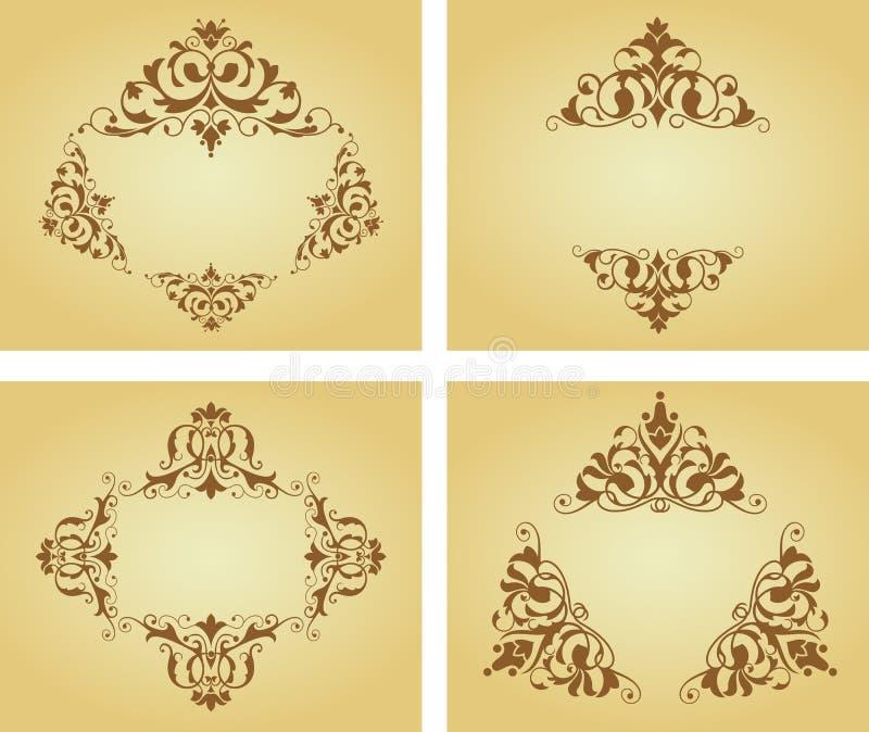 Configurations et cadres de fleur illustration de vecteur