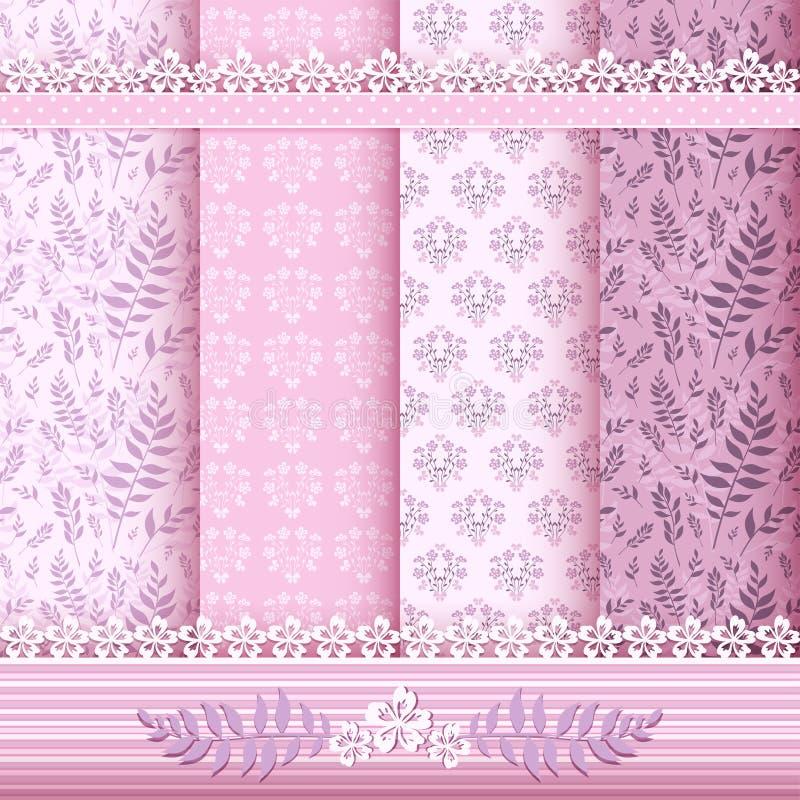 Configurations et cadres floraux réglés. illustration stock
