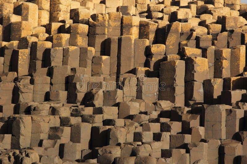 Configurations et textures de roche de la chaussée du géant photo libre de droits