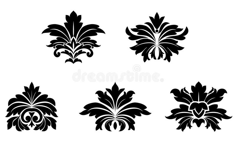 Configurations florales de damassé illustration stock