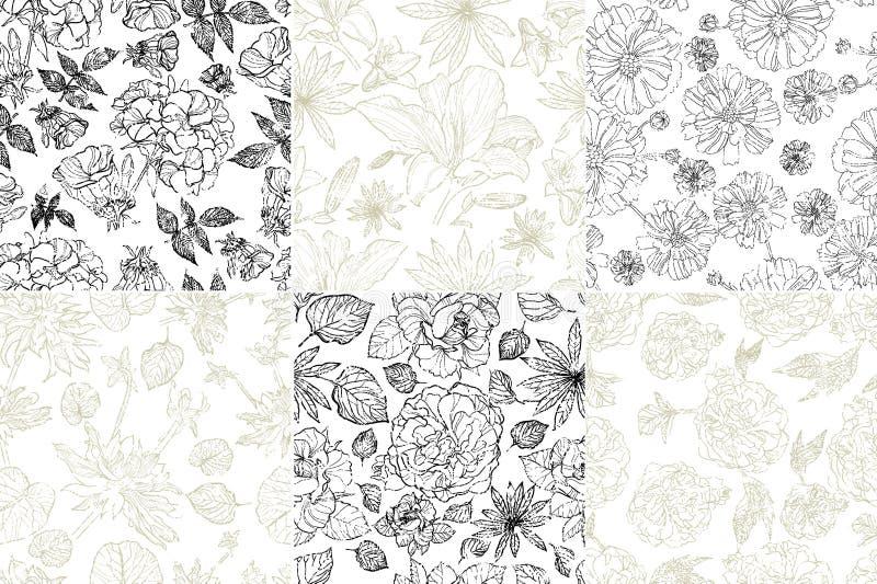 Configurations florales grunges sans joint illustration libre de droits