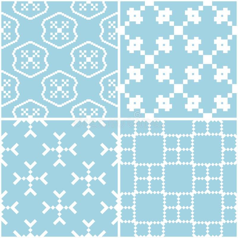 Configurations géométriques Ensemble de milieux sans couture bleus et blancs illustration libre de droits