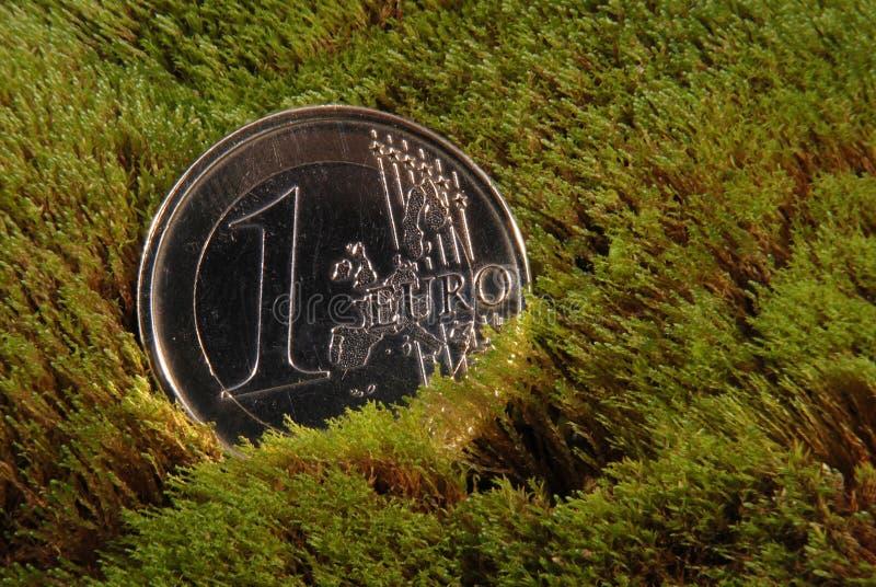 Configurations perdues de pièce de monnaie sur une mousse images libres de droits