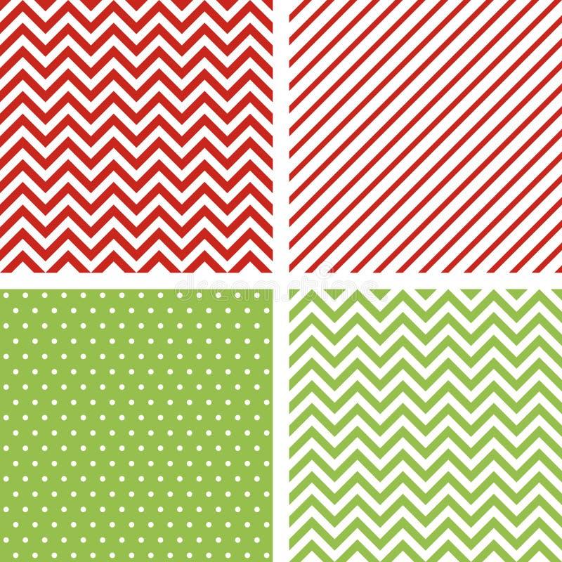 Configurations sans joint de Noël Ensemble de milieux minimaux pour la décoration dans des couleurs traditionnelles de Noël illustration stock