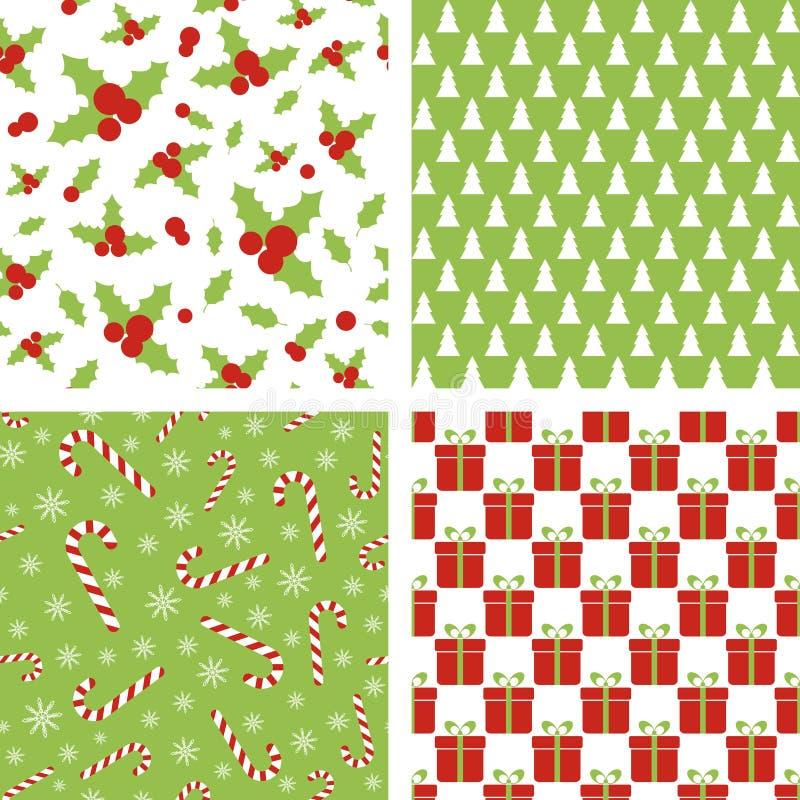 Configurations sans joint de Noël Ensemble de milieux pour le papier d'emballage, papier peint, conception de tissu illustration stock