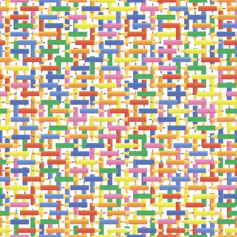 Configurations sans joint de vecteur Chaînes verticales et horizontales de petits crayons colorés illustration de vecteur
