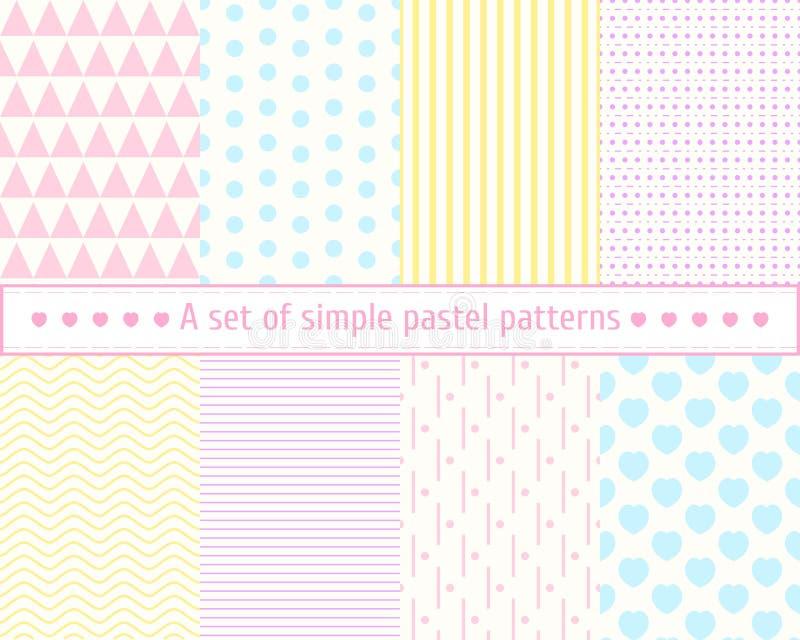 Configurations sans joint en pastel réglées Modèles doux, simples, concis Couleurs en pastel, rose, bleu, modèle jaune illustration de vecteur